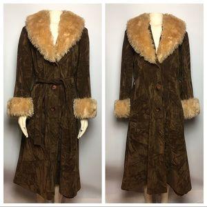 Vintage Penny Lane Brown Suede Long Jacket